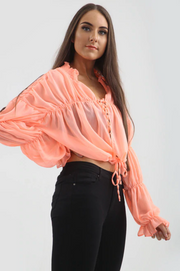 Chiffon Tie Up Blouse - Coral