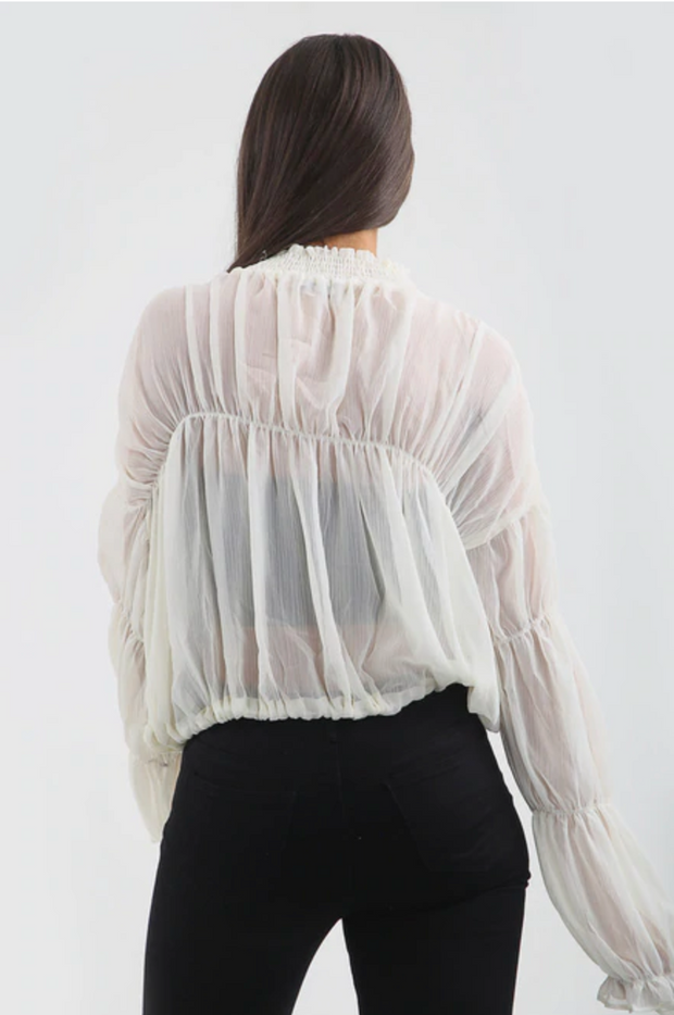 Chiffon Tie Up Blouse - White