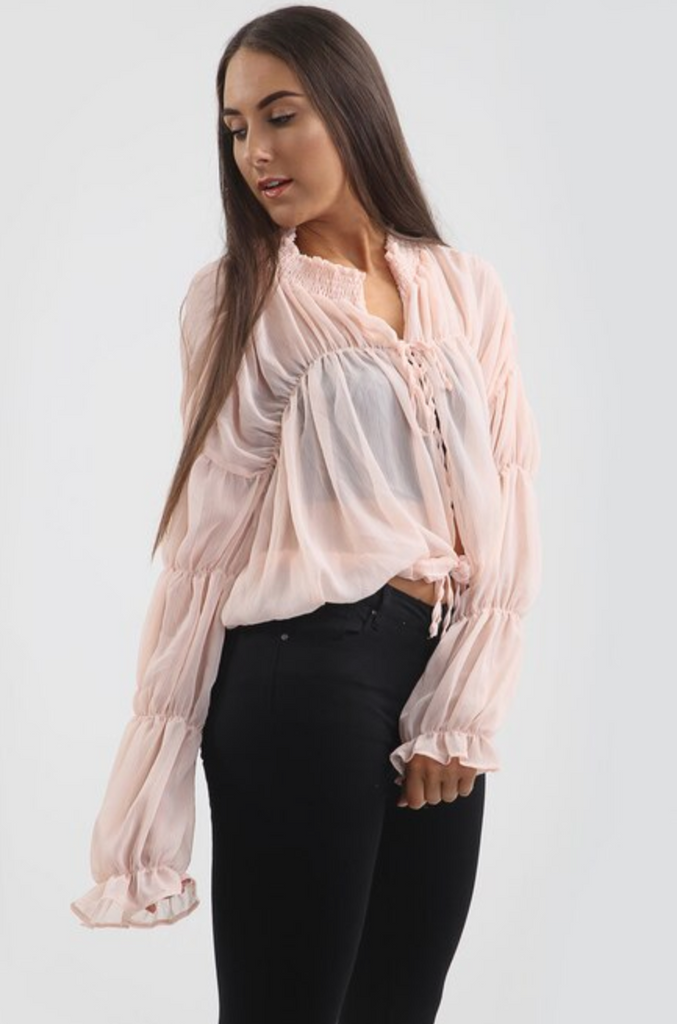 Chiffon Tie Up Blouse - Pink