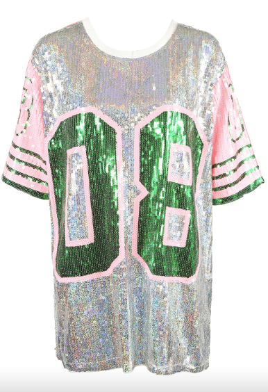 Sequin 08 Tshirt Dress - Silver