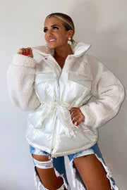 Shiny Teddy Puffer Coat - Cream