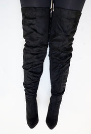 Ruched Thigh High Boots - Black