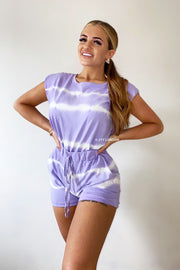 Padded Tie Dye Short Set - Purple