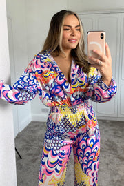 Tropical Jumpsuit - Blue & Pink