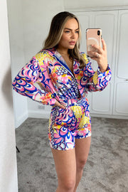 Tropical Playsuit - Blue & Pink