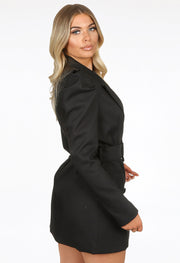 Puff Shoulder Blazer Dress - Black