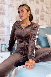 Velour Two Stripe Tracksuit - Brown