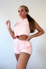 Sleeveless Hoodie Short Set - Baby Pink