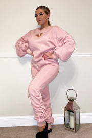 Ruched Gold Chain Trackie - Baby Pink