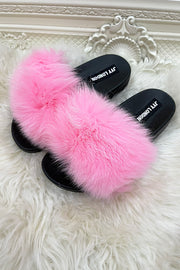 Faux Fur Sliders - Baby Pink