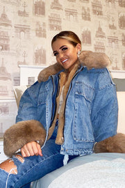 Faux Fur Denim Jacket - Beige
