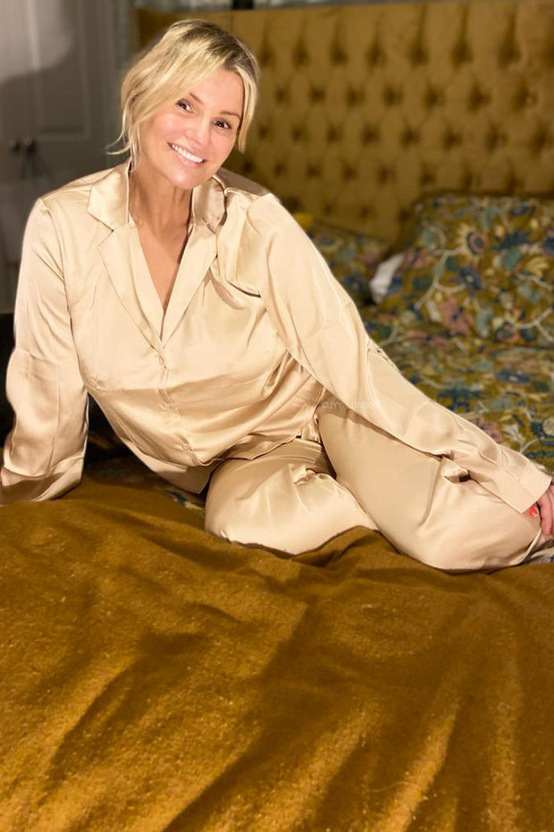 Long Sleeve Satin PJ's - Beige