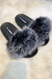 Faux Fur Sliders - Black/White