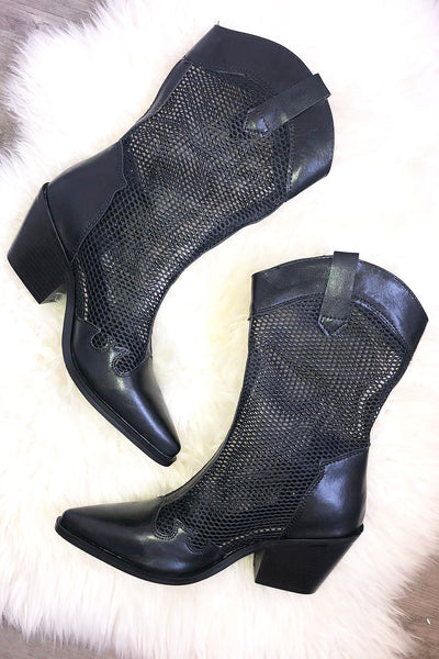 Western Mesh Boots - Black