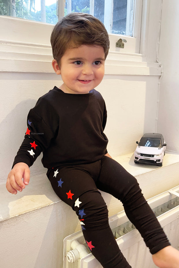 Kids Star Print Lounge Set - Black