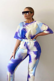 Tie Dye Patch Tracksuit - Blue & Purple