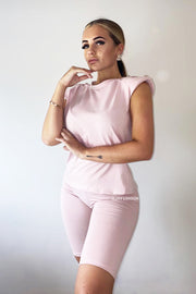 Padded Button Short Set - Dusty Pink
