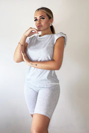 Padded Button Short Set - Light Grey