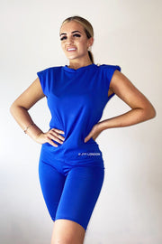 Padded Button Short Set - Royal Blue