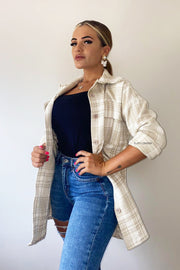 Oversized Check Shirt - Beige