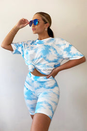 Cloudy Tie Dye Short Set - Blue
