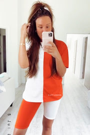 Contrast Short Set - Orange & White