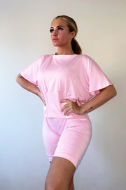 Corset Detail Top & Shorts Set - Pink