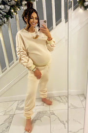 Ruched Gold Chain Trackie - Cream