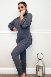 Roll Neck Knit Set - Dark Grey