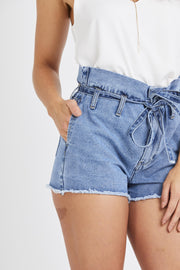 Paper Bag Waist Shorts - Light Denim