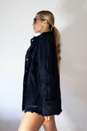 Oversized Frayed Denim Jacket - Black