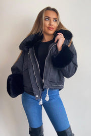 Faux Fur Denim Jacket - Black