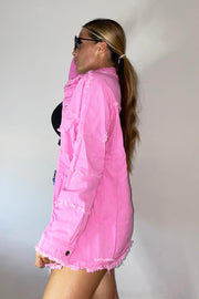 Oversized Frayed Denim Jacket - Pink