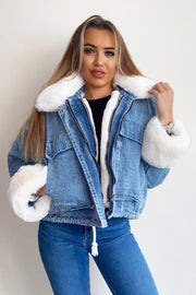 Faux Fur Denim Jacket - White