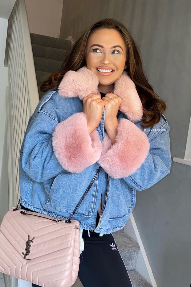 Faux Fur Denim Jacket - Pink