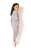 Faux Fur Sequin Trackie - Grey