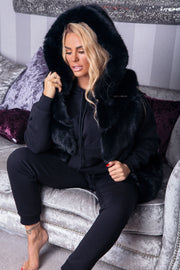 Faux Fur Hooded Gilet - Black