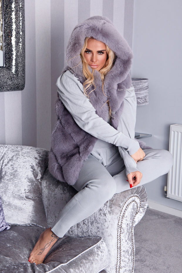 Faux Fur Hooded Gilet - Grey