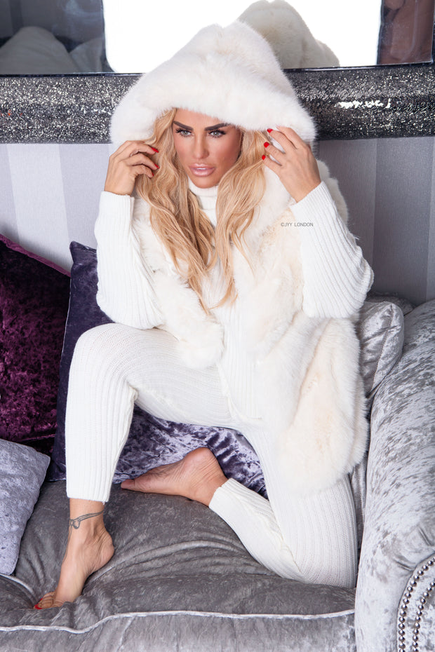 Faux Fur Hooded Gilet - Cream