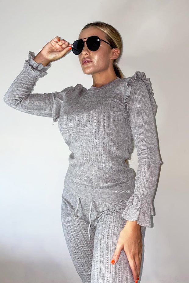 Frill Shoulder Knit Set - Grey