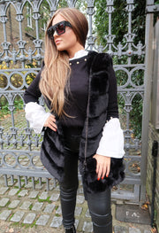 Faux Fur Gilet - Black
