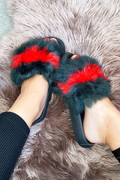 Faux Fur Sliders - Green/Red