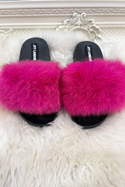 Faux Fur Sliders - Fuschia
