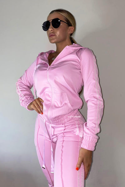 Glitter Two Stripe Trackie - Pink