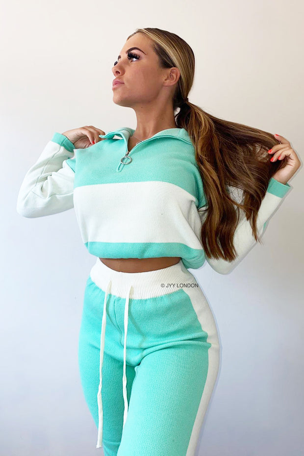 Colour Block Knit Tracksuit - Green