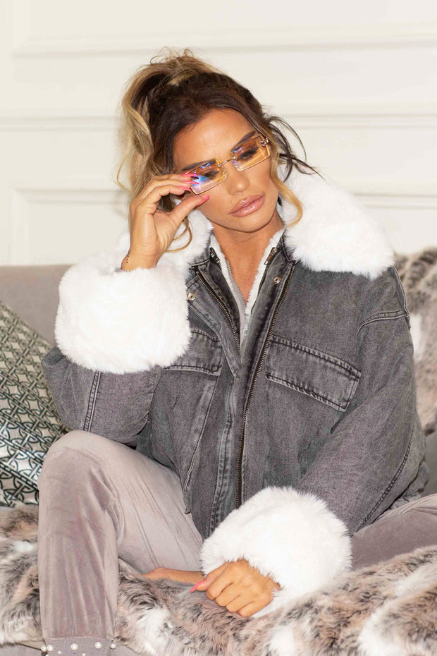 Faux Fur Denim Jacket - Grey