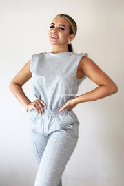 Padded Button Lounge Set - Grey