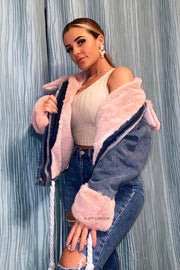 Hooded Denim Jacket - Pink