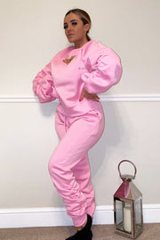Ruched Gold Chain Trackie - Hot Pink