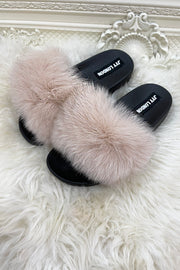 Faux Fur Sliders - Ivory
